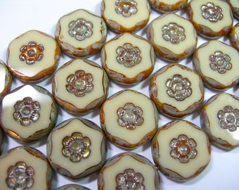 10 15mm Czech Glass Ivory Picasso Flower Coin Beads