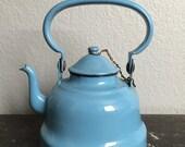 Vintage Antique Light Blue Small Enamelware Teapot or Kettle.  Rare.