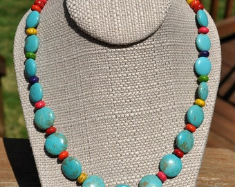 Blue Turquoise Coin Rainbow Necklace