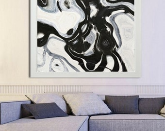 Black and White Print,Abstract Painting on Print,Fine Art Print,Giclee Print,Wall Art,Wall Décor,Black and White Art,Ready to hang
