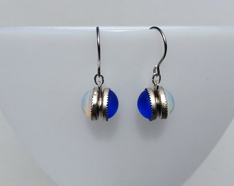 Duality is a good thing: Blue and opal double-sided earrings