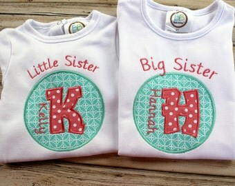 Big Little Shirt, Brother or Sister, Personalized with Name, Totally Custom, Applique, Embroidered