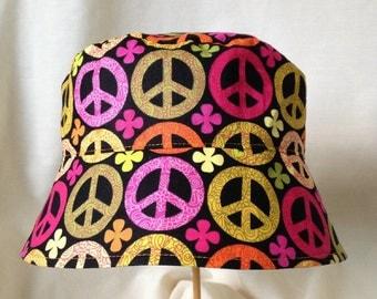 Peace Sign Hat, Sun Hat with Straps, Bright Sun Hat, Toddler Bucket Hat, Peace Baby, Toddler Sun Hat, Cotton Sun Hat, Reversible Bucket Hat