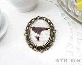 Antique Bronze & Black Raven Cameo Brooch, Antique Bronze Raven Brooch, Crow Brooch, Black Crow Brooch, Edgar Allan Poe Brooch, Black Bird