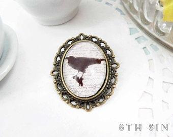 Antique Bronze & Black Raven Cameo Brooch, Antique Bronze Raven Brooch, Crow Brooch, Black Raven Brooch, Edgar Allan Poe Brooch, Black Bird