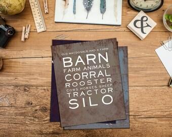 Vintage Farm Nursery Art - Vintage Barnyard Farm Words Art Print - Barn, Animals, Tractor