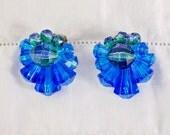 Blue Acrylic Crystal Clip On Earrings