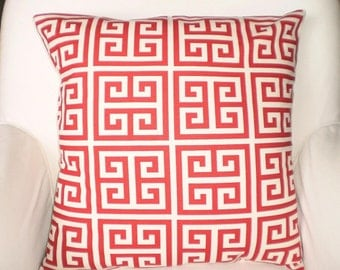 Red Cream Greek Key Pillow Cover Decorative Throw Pillow Covers, Cushions, Couch Pillow, One 12 x 16