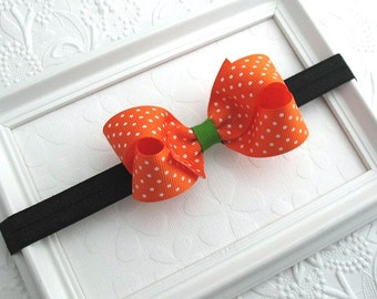 Halloween Hair Bow, Halloween Baby Headband, Baby Bow Headband, Baby Headband, Orange Boutique Bow, 3 in Boutique Bow Headband