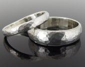 Hammered Half Round Sterling Silver Wedding Ring Set, Silver Wedding Band Set, 5.9 x 1.6 mm and 3.3 x 1.4 mm, Satin Finish