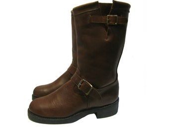 Vintage Motorcycle Boots Mens Durango Pre-owned Tobacco Brown Leather Biker Boots Made In The USA Mns US Size 8 1/2 D