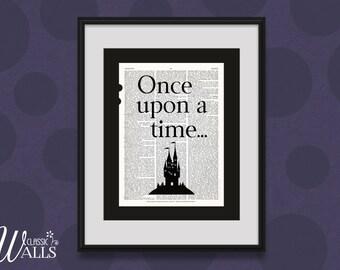 ONCE UPON A Time - Fairy Tale, Vintage Dictionary, Art Print, Fairytale Wall Art, Cinderella, Sleeping Beauty, Princess Print, Wall Decor