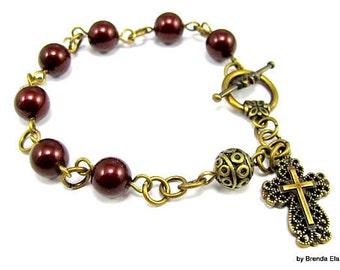 Anglican Prayer Bead Bracelet  with Swarovski Pearls and Filigree Bead-You choose the color