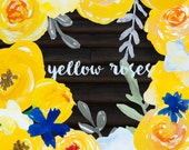 20 Watercolor hand painted Botanical Clip Art PNG overlays - Yellow Roses Flowers, leaves