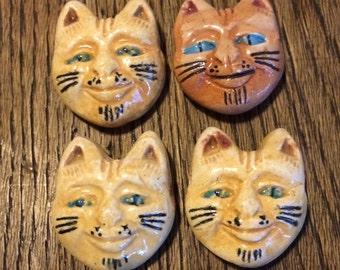 CLEARANCE: ceramic cat faces 4 pc 27 x 23 mm