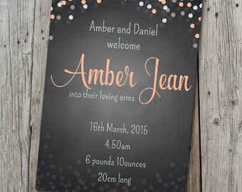 "Birth Announcement- 'Amber' Confetti 5 x 7"" format - I recreate.. you print."