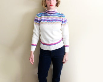 vintage sweater 1980s pastel geometric print white feminine retro small s