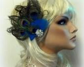 Wedding Fascinator, Peacock Hair Clip, Bridal Fascinator, Bridal Hair Clip, Peacock Fascinator, Peacock Wedding, Turquoise, Green, Blue