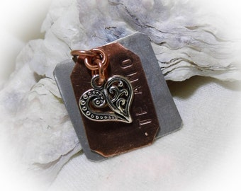 Te Amo Hand Stamped Personalized Necklace Aluminum Copper