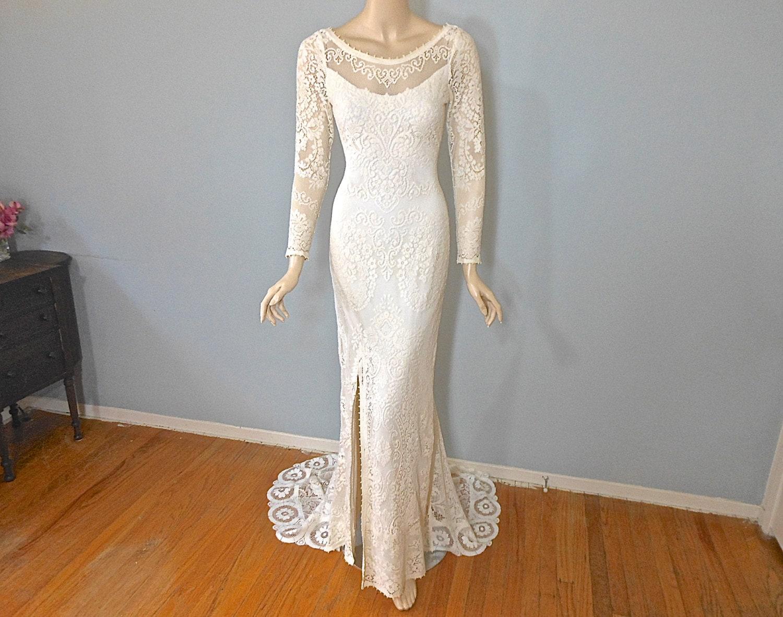 Cream Lace Backless Long Sleeve Bohemian Wedding Dress SIMPLE