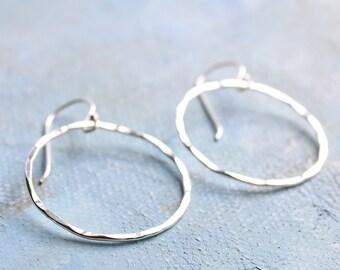 Silver Circle Earrings (Medium) - Hammered Texture Silver Dangle Hoop Earrings Minimalist Jewelry sterling silver earrings
