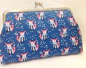 clutch purse - snow fox  - 8 inch metal frame clutch purse / large purse/ snow fox   / blue  / kiss lock clutch