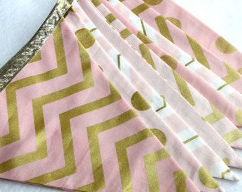 Fabric Bunting Banner in Pink and Gold