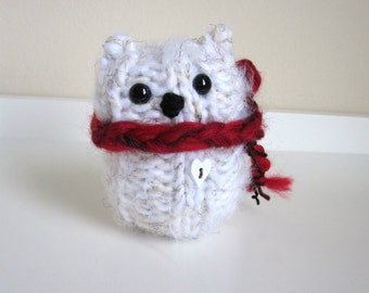 Cozy Winter Polar Bear, Plush Bear, Knitted White Bear, Teddy Bear, Wool and Mohair Bear with red scarf
