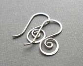 Four Pair Sterling Silver Spiral Ear Wires, Ear Hook, Artisan Jewelry Findings