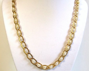 70s Pearl Necklace Wrapped in Gold Chain Link with Silver Pearls in Satin Marine Link Motif - Vintage 70's Costume Jewelry