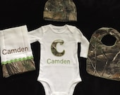 Real tree or mossy oak orange or green camo baby boy personalized 4 piece gift set