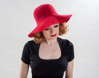 Vintage 1970s Borsalino Marsala Hat - Floppy Big Brim Boho Chic - Italian Fashions