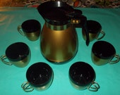 Retro MoD Thermo-Serv Hot/Cold Thermos and 6 Metal Handle Mugs