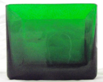 Green Glass Rectangular Vase or Planter, Vintage Napco Holder with Rounded Corners