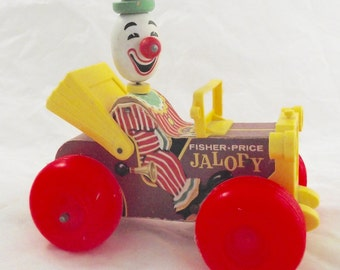 Fisher Price Jalopy, Vintage Wood and Plastic Clown Car Toy
