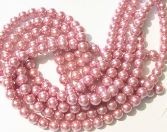 10mm Rose Glass Pearls