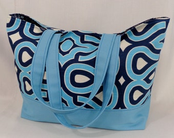 Turquoise and Navy Beach BAG, Extra Large Tote, Knitting BAG, Work Purse