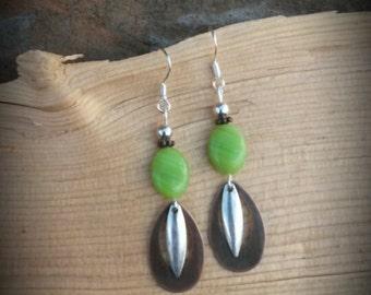Apple Green Silver Copper Sterling Silver Earrings, Copper Silver Green Sterling SIlver Earrings