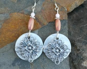 Cream Shell Pink Sterling Silver Earrings, Shell Sterling Earrings, Pink Shell Silver Earrings