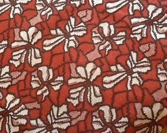Vintage Knit Fabric Floral Flowers Brown