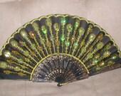 Vintage black & gold Beaded Folding Fan