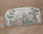 Vintage Tapestry Clutch Purse with Figural Scene by Baronet