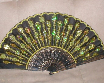 Vintage black & gold Beaded Folding Fan