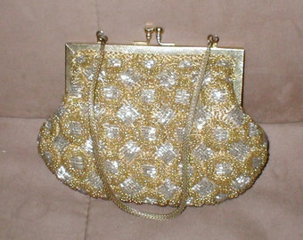 Vintage Gold & Silver Beaded Evening Purse by WALBORG
