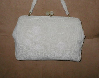 Vintage WHITE Beaded Evening Bag Purse