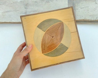Inlaid wood box large vintage circular geometric 70s 80s