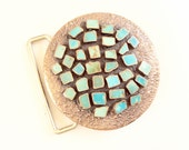 CLEARANCE Belt buckle turquoise and copper over Nickel silver vintage beautiful piece