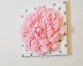 "Nursery Wall Decor -Light Pink Dahlia on White with Gray Polka Dot 12 x12"" Canvas Wall Art- Flower Wall Art"