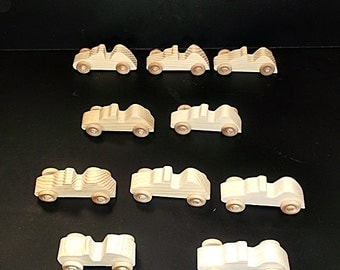 10 Handcrafted Wood Toy Race Cars OT-47 unfinished or finished