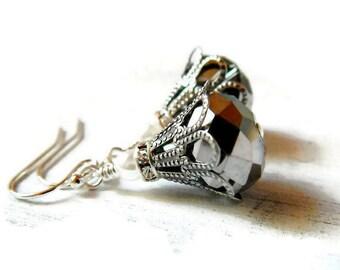 Bohemian Silver Earrings Silver Bronze Crystal Earrings Antique Silver Gray Earrings Titanium Drops Bold Statement Vintage Style Two Tone